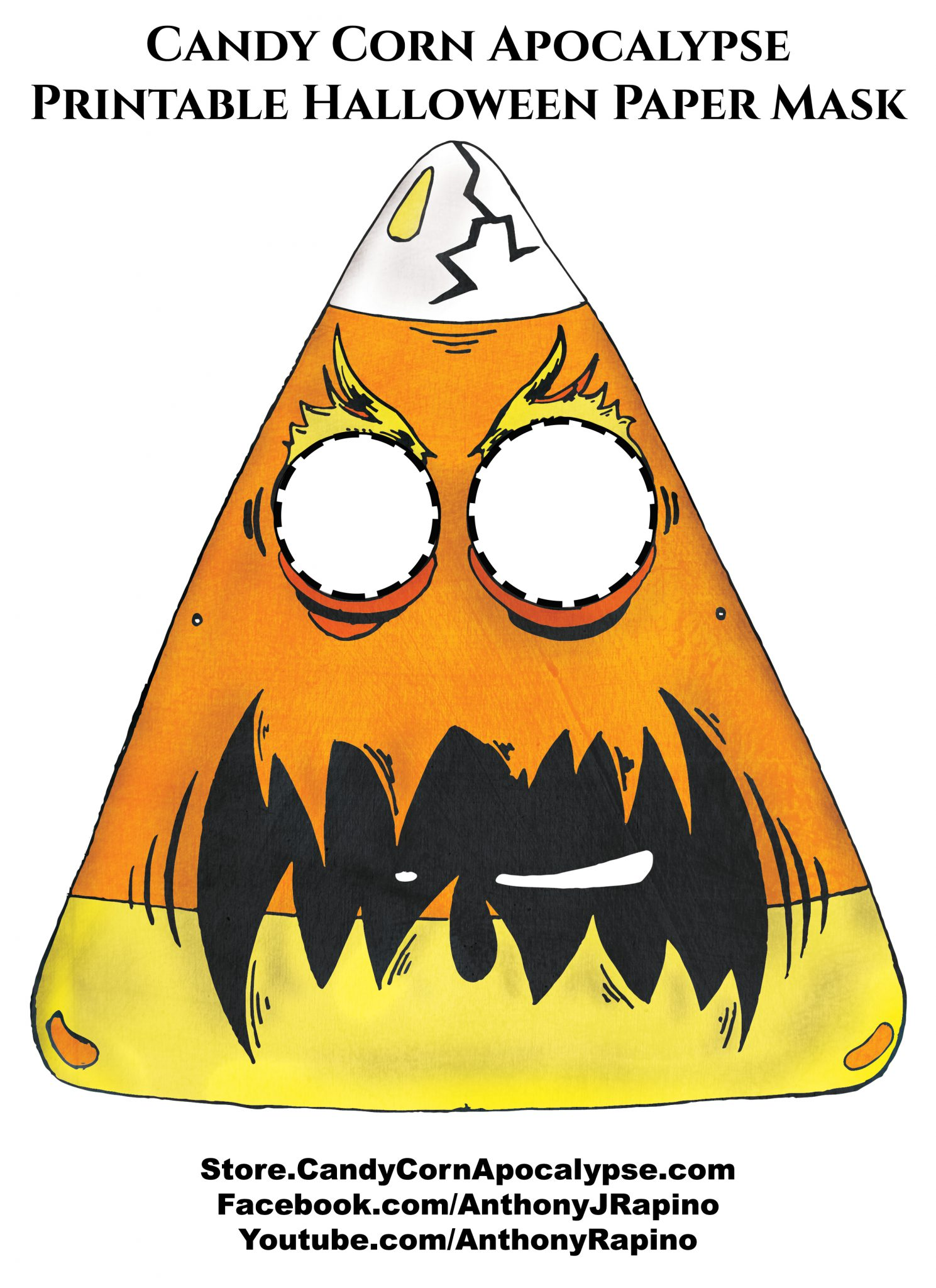 Candy Corn Apocalypse Free Halloween paper mask printable
