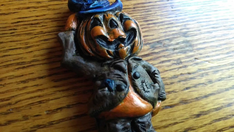 Pumpkin man sculpture